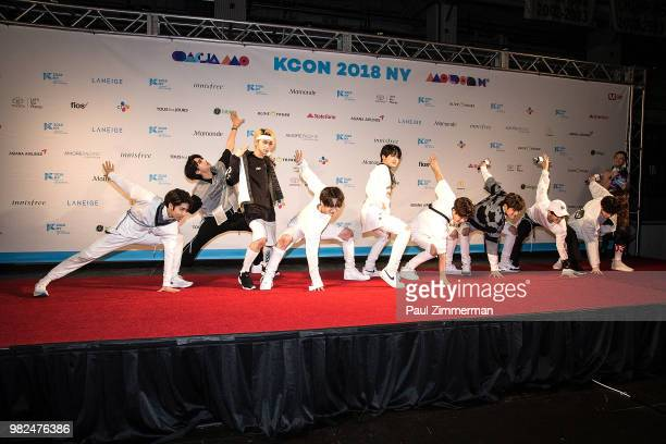Hong Seok Jin Ho Yan An Hui Yeo One Shin Won Woo Seok E Dawn Kino and Yuto of boy band Pentagon attend the red carpet at KCON Day 1 2018 NY presented...