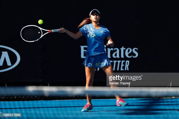 Hong Yi Cody Wong of Hong Kong and Sohyun Park of Korea compete in their first round Junior Girls Doubles match against Alice Amendola and Zoziya...
