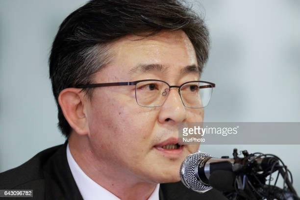 Hong Yong Pyo of South Korea Unification Minister speaking about interkorean problem and Kim Jong Nam death at special press conference in Seoul...