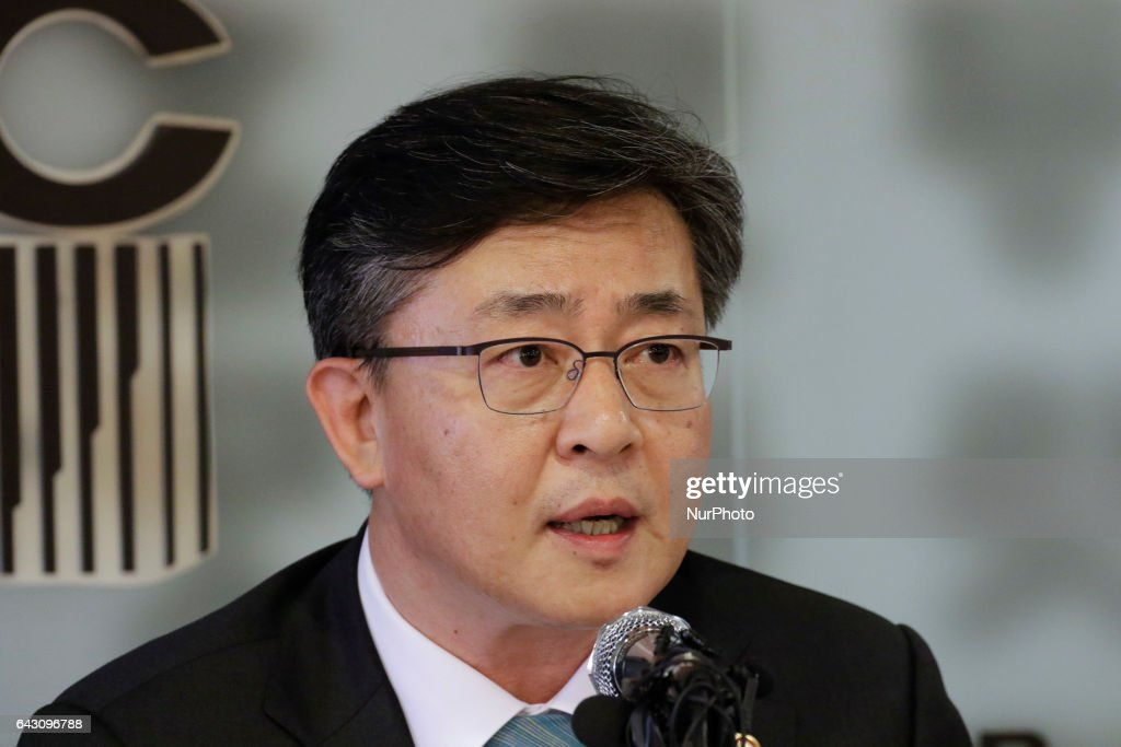 Hong Yong Pyo of South Korea Unification Minister speaking about inter-korean problem and Kim Jong Nam death at special press conference in Seoul, South Korea, on February 20, 2017.