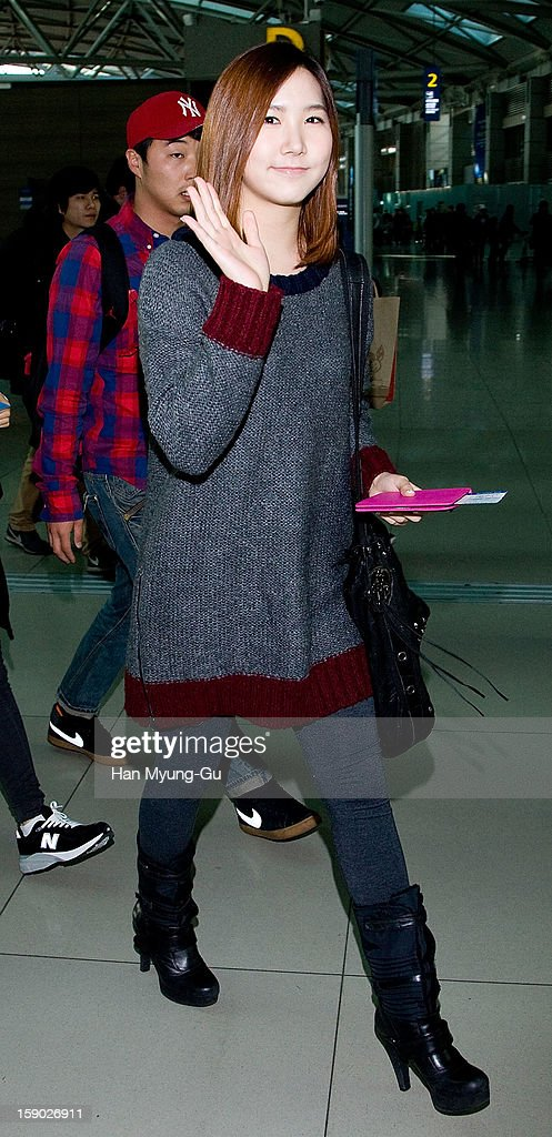 Hong Yu-Kyung of South Korean girl group A Pink is seen at Incheon International Airport on January 5, 2013 in Incheon, South Korea.