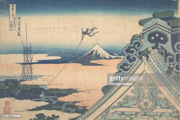 Honganji at Asakusa in Edo , from the series Thirty-six Views of Mount Fuji , circa 1830-32. Artist Hokusai.