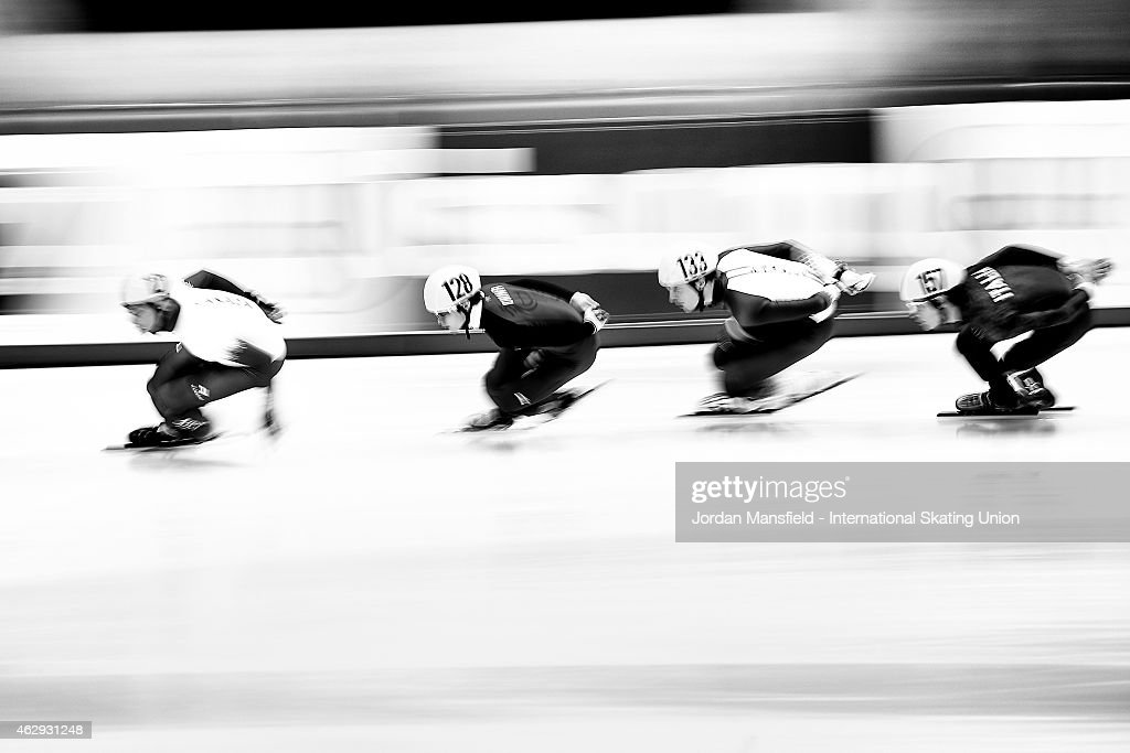 Hongchao Zhang of China (second left) competes in Men's 1500m semi-final race day 1 of the ISU World Cup Short Track Speed Skating on February 7, 2015 in Dresden, Germany.