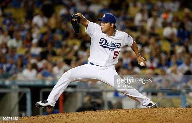 HongChih Kuo of the Los Angeles Dodgers pitches against the San Diego Padres at Dodger Stadium on September 6 2009 in Los Angeles California
