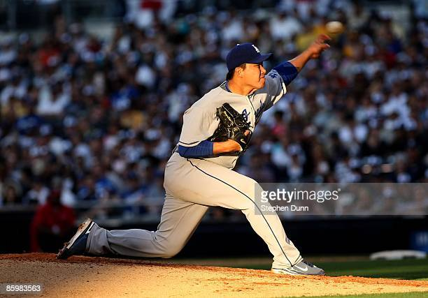 HongChih Kuo of the Los Angeles Dodgers throws a pitch against the San Diego Padres on April 6 2009 at Petco Park in San Diego California The Dodgers...