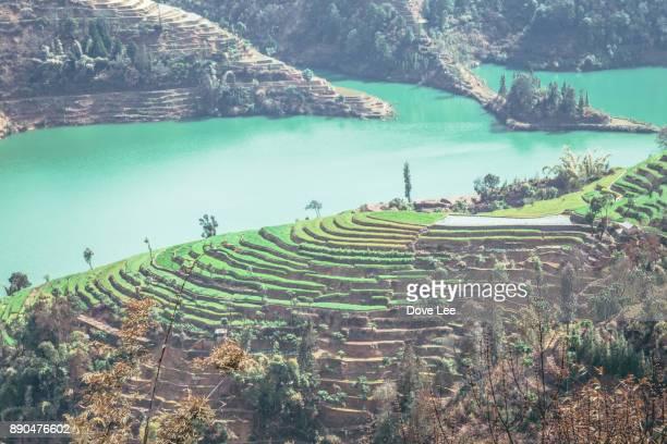 honghe landscape - provinz yunnan stock-fotos und bilder