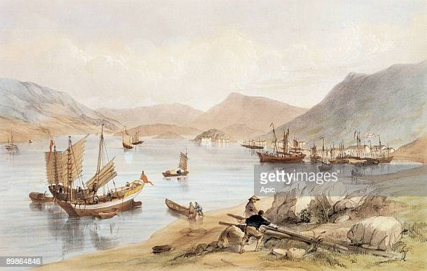 HongKong Aberdeen the harbour on r Brick Hill engraving by Maclure after Murdoch Bruce 1846
