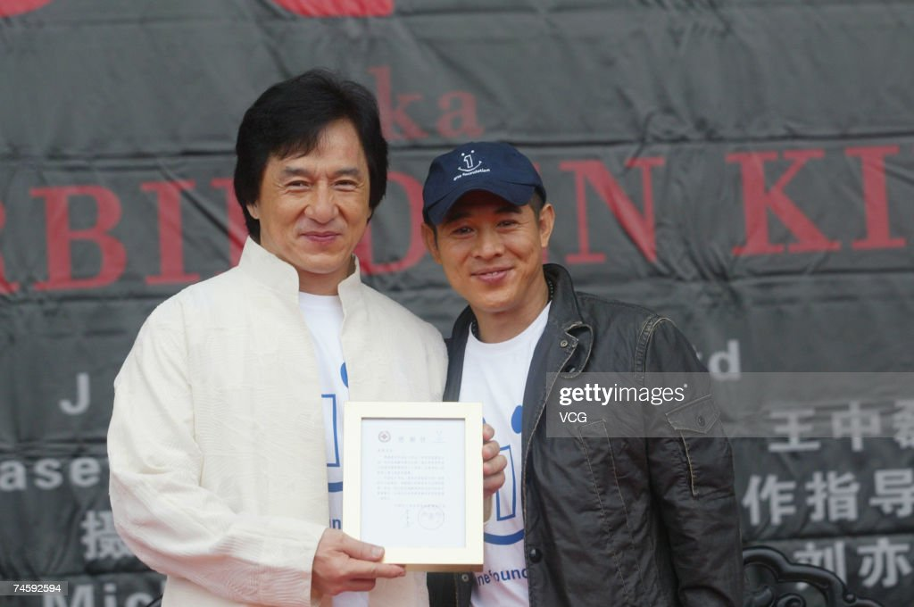Hongkong actor Jet Li (R) and Jackie Chan (L) attend the press conference of the 'Kings of KungFu' on June 14, 2007 in Hengdian, Zhejiang Province, China.