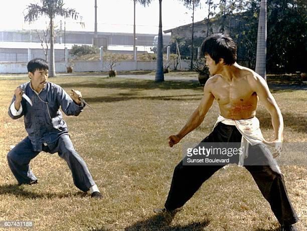 HongKong actor YingChieh Han and Chinese American martial artist and actor Bruce Lee on the set of Big Boss written and directed by Wei Lo
