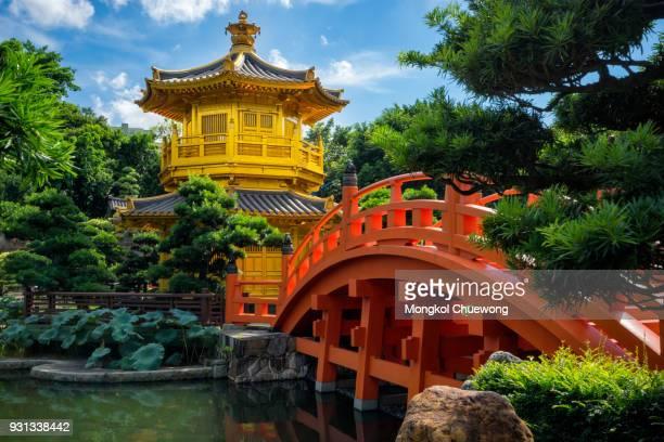 Hongkong beautiful golden teak wood pagoda at Nan Lian Garden in Hong Kong