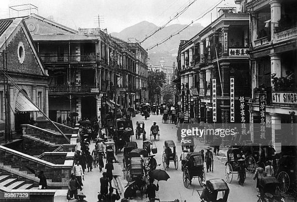 HongKong c 1895 view of main street on l Central Market