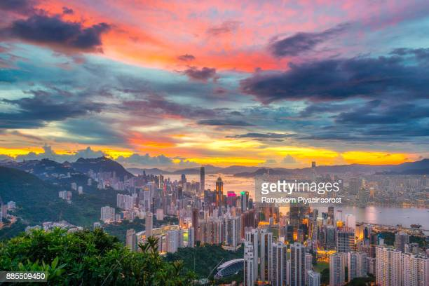 Hongkong Cityscape at sunset time