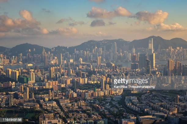 hongkong cityscape panorama - top foto e immagini stock