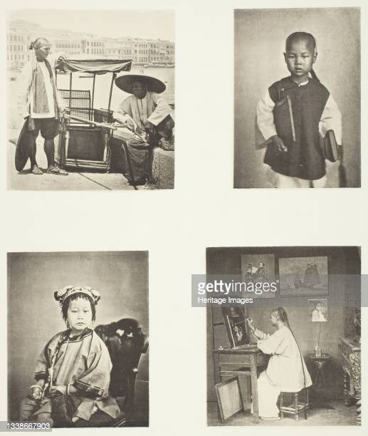 Hong-Kong Sedan Chair; A Chineses School-Boy; A Chinese Girl; A Hong-Kong Artist, circa 1868. A work made of collotype, pl. Iv from the album...