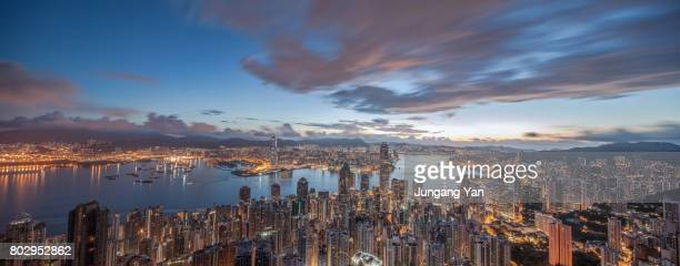 hongkong skyline - global village stock pictures, royalty-free photos & images