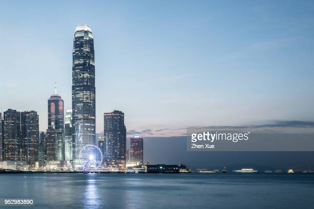 hongkong skyline - victoria harbour hong kong stock pictures, royalty-free photos & images