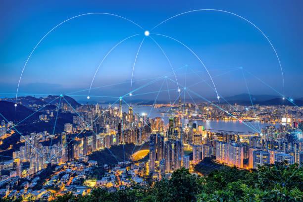 HongKong urban city with technology communication