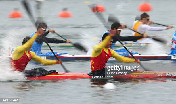 Hongpeng Zhang of China competes during the Men's Kayak Four 1000m Canoe Sprint Heats on Day 11 of the London 2012 Olympic Games at Eton Dorney on...