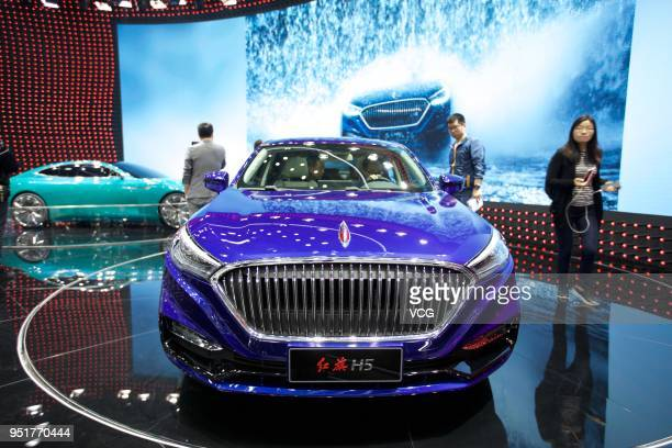Hongqi H5 car is on display during the Auto China 2018 at China International Exhibition Center on April 26 2018 in Beijing China Auto China 2018...