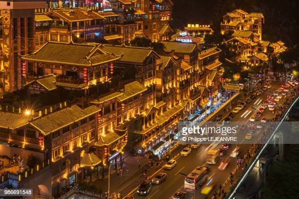hongya cave high angle view in chongqing - chongqing stock photos and pictures