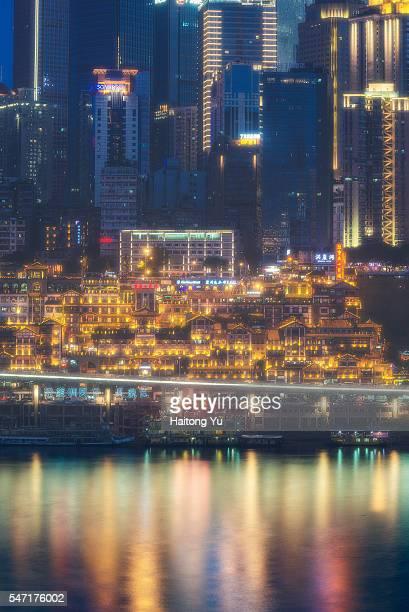 Hongyadong (洪崖洞) historical architectures and skyline of CBD, Chongqing, China