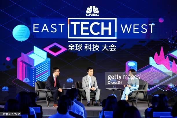 Hongye Wang Partner of Antler Eric Lin Head of Research China for UBS Securities Co Limited and Evelyn Cheng of CNBC speak during Day 1 of CNBC East...