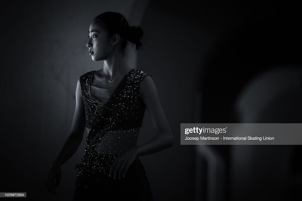 Hongyi Chen of China warms up in the Junior Ladies Free Skating during day three of the ISU Junior Grand Prix of Figure Skating at Keine Sorgen Eis Arena on September 01, 2018 in Linz, Austria.