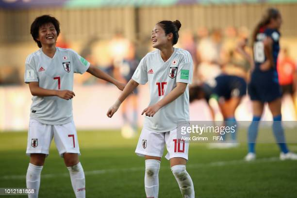 Honoka Hayashi of Japan celebrates her team's first goal with team mate Fuka Nagano during the FIFA U20 Women's World Cup France 2018 group C match...