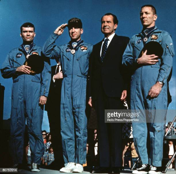Honolulu Hawaii 17th April 1970 US President Richard Nixon is pictured with the crew of Apollo 13 after they had safely landed back to earth LR Fred...