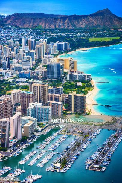 honolulu hawaii aerial - diamond head stock pictures, royalty-free photos & images