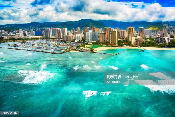 honolulu hawaii skyline aerial - waikiki stock pictures, royalty-free photos & images