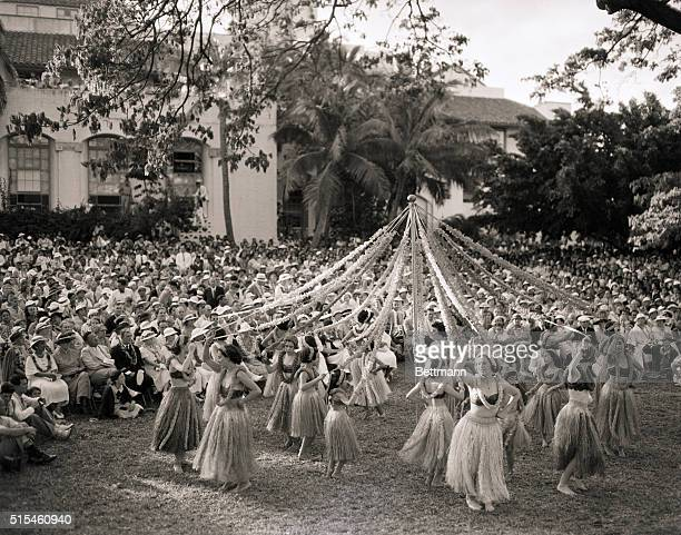 5/1/1935 Honolulu HI Hawaii is the only place in the world that can stage a May Dance such as this Movements of the graceful island Hula are combined...