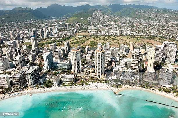 Honolulu skyline and Famous Waikiki Beach shot from a Helicopter