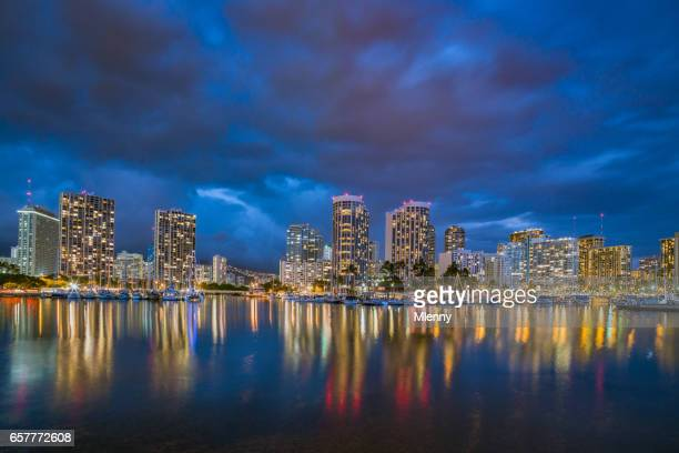 Honolulu Skyline at Night Ala Wai Waikiki Oahu Hawaii