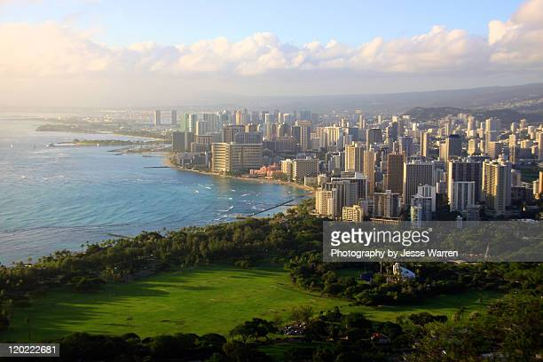 honolulu skylineffrom diamond head - waikiki stock pictures, royalty-free photos & images
