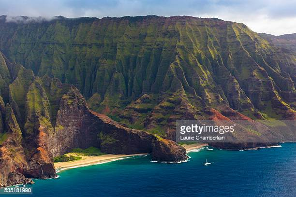 HonopÅ Valley and Beach with The Cathedral Rocks on Na'Pali Coast