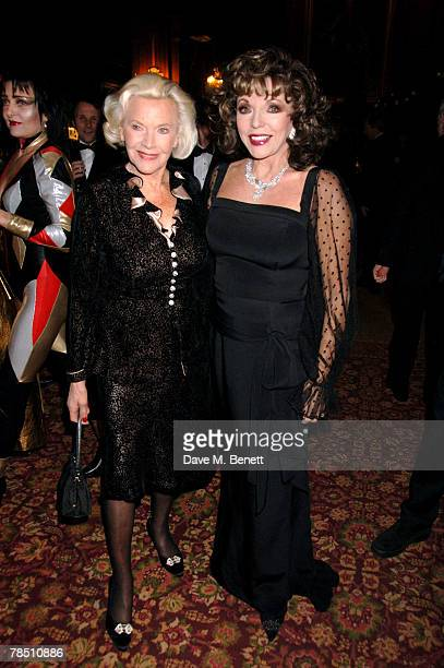 Honor Blackman and Joan Collins attend 'Let the Party Start' Dame Shirley Bassey's 70th birthday at Cliveden House on December 16 2007 in Taplow...