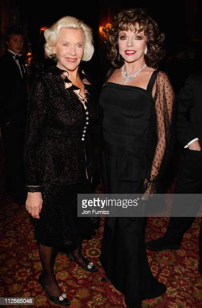 Honor Blackman and Joan Collins attends Christmas party in honour of Dame Shirley Bassey to celebrate her 70th Birthday kindly hosted by Von Essem...
