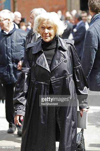 Honor Blackman attends the funeral of Christopher Cazenove at The Actors Church Covent Garden on April 16 2010 in London England