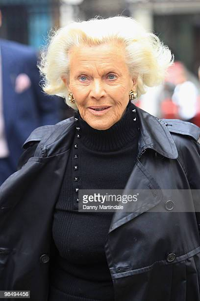 Honor Blackman attends the funeral of Christopher Cazenove held at St Paul's Church in Covent Garden on April 16 2010 in London England