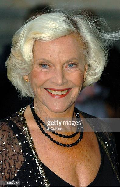 Honor Blackman during Lulu Guinness Book Launch Party for Put on Your Pearls Girls Arrivals at Victoria Albert Museum in London Great Britain