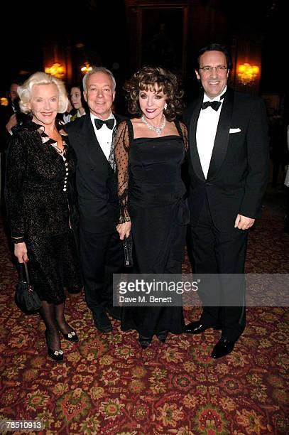 Honor Blackman Nicholas Grace Joan Collins and Percy Gibson attend 'Let the Party Start' Dame Shirley Bassey's 70th birthday at Cliveden House on...