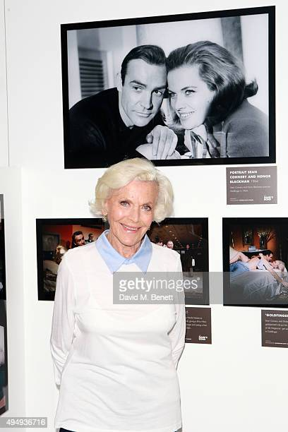 Honor Blackman visits 'The Name's Bond' exhibition at Everyman Canary Wharf raising funds for The Stroke Association on October 30 2015 in London...