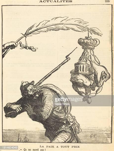 Honoré Daumier, , French, 1808 - 1879, La paix a tout prix, Actualités, gillotype on newsprint.
