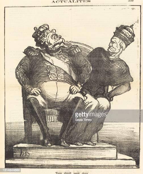 Honoré Daumier, , French, 1808 - 1879, Trop étroit pour deux, Actualités, gillotype on newsprint.