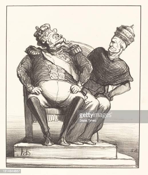 Honoré Daumier, , French, 1808 - 1879, Trop étroit pour deux, Actualités, lithograph.