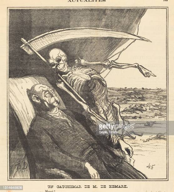 Honoré Daumier, , French, 1808 - 1879, Un cauchemar de M. Bismarck gillotype on newsprint.