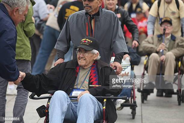 Honor Flight of WWII Veterans arrive at memorial during Govt Shutdown 10-13-13 Million Vet March WWII Memorial Washington D.C. 1MVetMarch