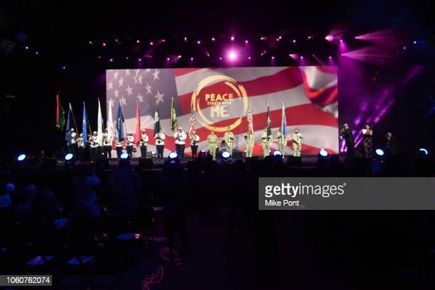 Honor Guard appears on stage during Peace Starts With Me concert at Nassau Coliseum on November 12 2018 in Uniondale New York