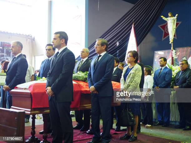 Honor guard around Alan Garcia coffin Jorge Muñoz mayor of Lima Carlos Scull Ambassador of Venezuela Jorge del Castillo and Mercedes Cabanillas APRA...